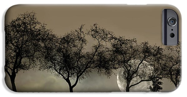 Virtual iPhone Cases - Four Trees and a Moon iPhone Case by Ann Bridges