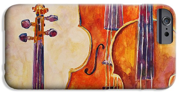 Violin iPhone Cases - Four Violins iPhone Case by Jenny Armitage