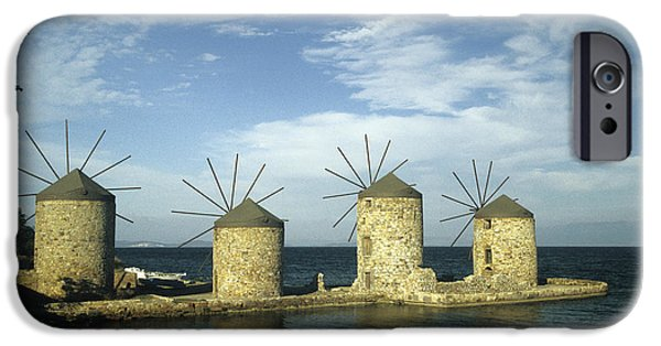 Grist Mill iPhone Cases - Four windmills of Chios iPhone Case by Jim  Wallace