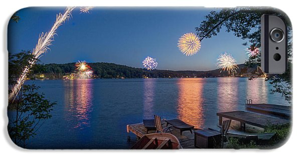 Fourth Of July iPhone Cases - Fourth of July at the Lake iPhone Case by Kirk Van Zandbergen