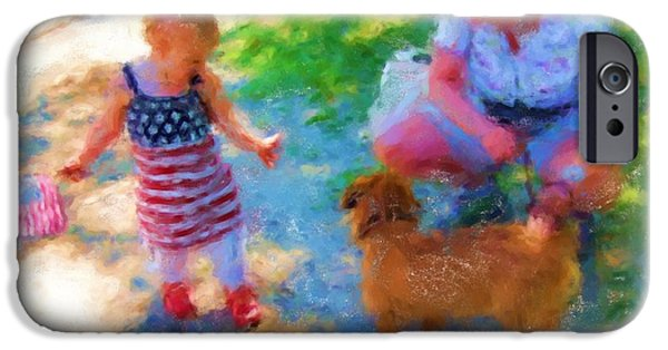 Fourth Of July Paintings iPhone Cases - Fourth Of July Friends 1015 20140919 iPhone Case by Julie Knapp