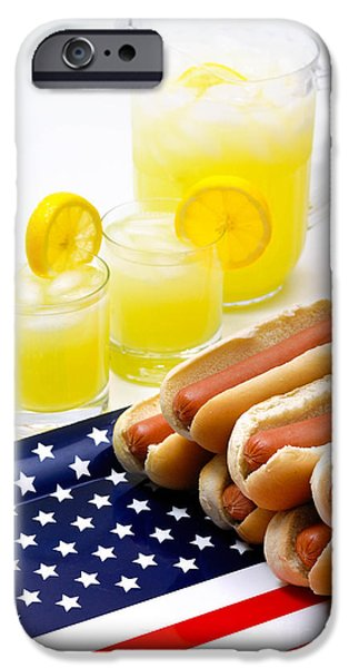 Fourth of July Hot Dogs and Lemonade iPhone Case by Amy Cicconi