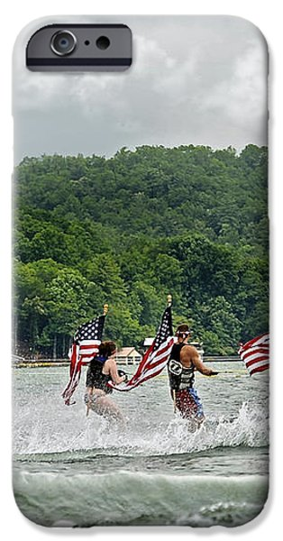 Fourth of July Water Skiers iPhone Case by Susan Leggett