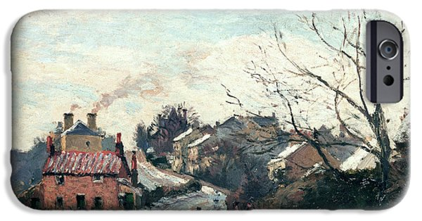 Snow-covered Landscape Paintings iPhone Cases - Fox Hill Upper Norwood iPhone Case by Camille Pissarro