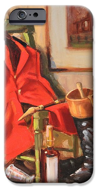 Smithsonian Paintings iPhone Cases - Fox Hunting Fare iPhone Case by Brenda Sumpter