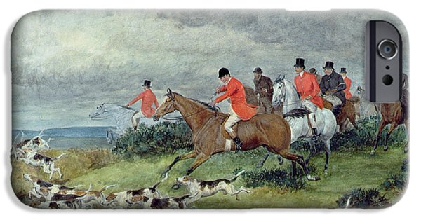 Hound iPhone Cases - Fox Hunting in Surrey iPhone Case by Randolph