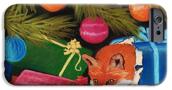 Animal Cards Pastels iPhone Cases - Fox in a Box iPhone Case by Anastasiya Malakhova