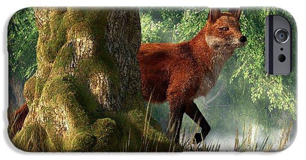 Fox Digital iPhone Cases - Fox in a Forest iPhone Case by Daniel Eskridge