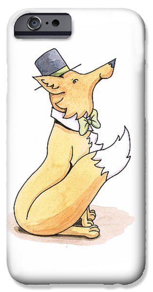 Fox in Top Hat iPhone Case by Christy Beckwith