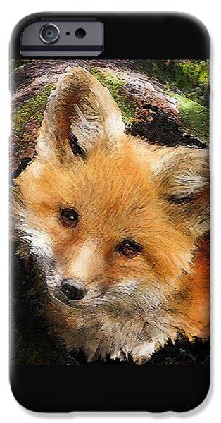 Fox Digital iPhone Cases - Fox Kit In Log iPhone Case by Jane Schnetlage