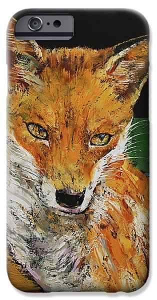 Fox Paintings iPhone Cases - Red Fox iPhone Case by Michael Creese