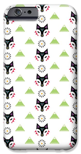 Geometric Animal iPhone Cases - Fox Mountain iPhone Case by Susan Claire