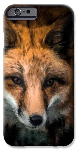 Fox Digital iPhone Cases - Fox Portrait iPhone Case by Ernie Echols
