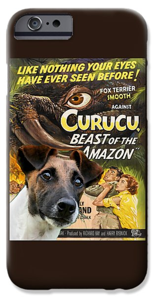 Fox Terrier iPhone Cases - Fox Terrier - Smooth Fox Terrier Art Canvas Print - Curucu Movie Poster iPhone Case by Sandra Sij