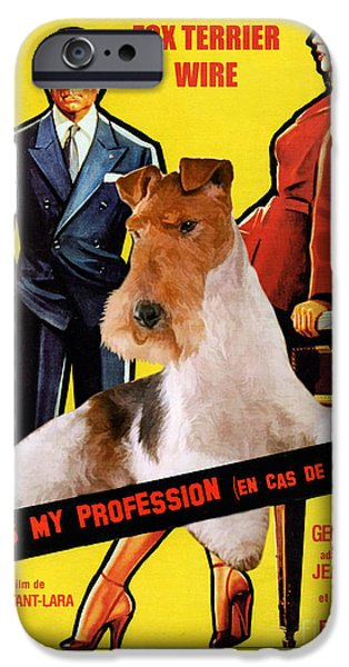 Fox Terrier iPhone Cases - Fox Terrier - Wire Fox Terrier Art Canvas Print - Love Is My Profession Movie Poster iPhone Case by Sandra Sij