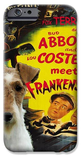 Fox Terrier iPhone Cases - Fox Terrier - Wire Fox Terrier Art Canvas Print - Meet Frankenstein Movie Poster iPhone Case by Sandra Sij