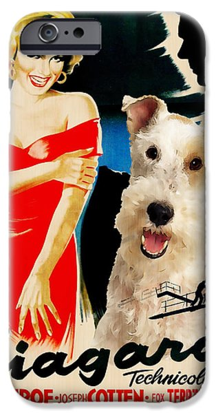 Fox Terrier iPhone Cases - Fox Terrier - Wire Fox Terrier Art Canvas Print - Niagara Movie Poster iPhone Case by Sandra Sij