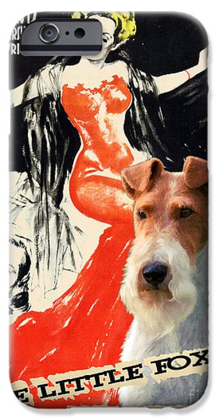 Fox Terrier iPhone Cases - Fox Terrier - Wire Fox Terrier Art Canvas Print - The Little Foxes Movie Poster iPhone Case by Sandra Sij