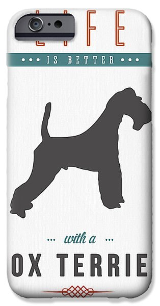 Dog Mixed Media iPhone Cases - Fox Terrier 01 iPhone Case by Aged Pixel