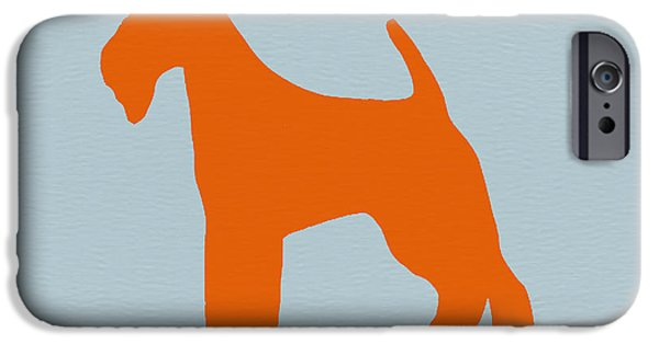 Cute Dogs Digital iPhone Cases - Fox Terrier Orange iPhone Case by Naxart Studio