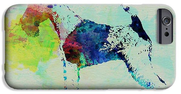 Fox Terrier iPhone Cases - Fox Terrier Watercolor iPhone Case by Naxart Studio