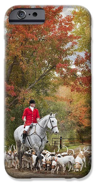 Fall Colour iPhone Cases - Foxhunting Autumn Colours iPhone Case by Heather Swan