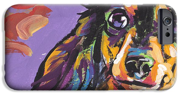 Dachshund Art iPhone Cases - Foxie Doxie iPhone Case by Lea