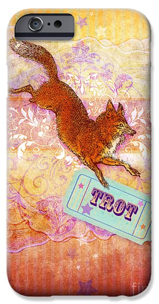 Animal Cards Digital iPhone Cases - Foxtrot iPhone Case by Aimee Stewart