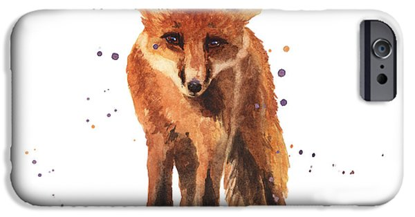 Fox Paintings iPhone Cases - Foxy Friend iPhone Case by Alison Fennell