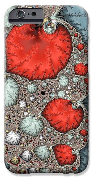 Floral Digital Art Digital Art iPhone Cases - Fractal abstract art red grey light blue vertical format iPhone Case by Matthias Hauser
