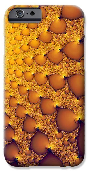 Abstract Digital Photographs iPhone Cases - Fractal artwork golden and yellow abstract iPhone Case by Matthias Hauser