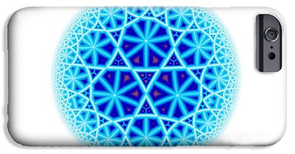 Disc iPhone Cases - Fractal Escheresque Winter Mandala 4 iPhone Case by Hakon Soreide
