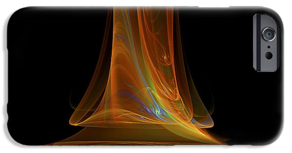 Digital Abstract iPhone Cases - Fractal Flame Art Abstract Light Beam Black and Orange iPhone Case by Keith Webber Jr