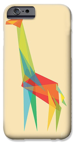 Giraffes iPhone Cases - Fractal Geometric Giraffe iPhone Case by Budi Satria Kwan
