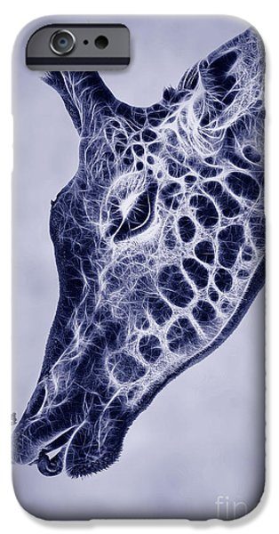 Concept Digital Art iPhone Cases - Fractal Giraffe Duotone iPhone Case by John Edwards