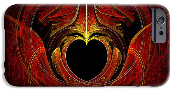 Suburban Digital Art iPhone Cases - Fractal - Heart - Victorian love iPhone Case by Mike Savad
