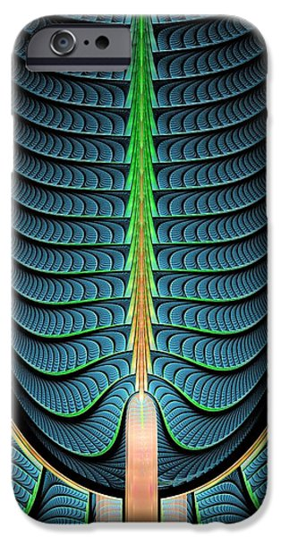 Pines Mixed Media iPhone Cases - Fractal Pine Tree iPhone Case by Anastasiya Malakhova