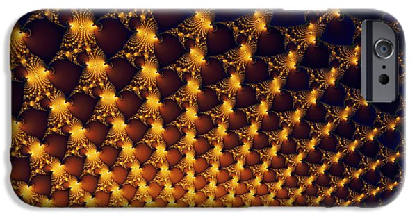 Fireworks iPhone Cases - Fractal yellow golden and black firework iPhone Case by Matthias Hauser