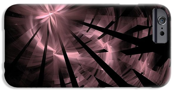 Abstract Digital Light Trails iPhone Cases - Fractured / Pink Lights at Night iPhone Case by Elizabeth McTaggart