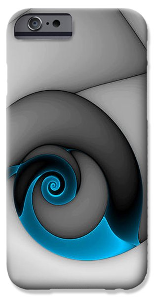 Fractures Curl Blue iPhone Case by Mark Eggleston