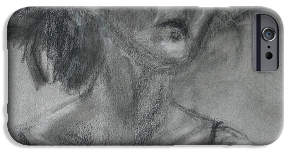 Spiritual Portrait Of Woman iPhone Cases - Gathering Strength - Original Charcoal Drawing - Contemporary Impressionist Art iPhone Case by Quin Sweetman