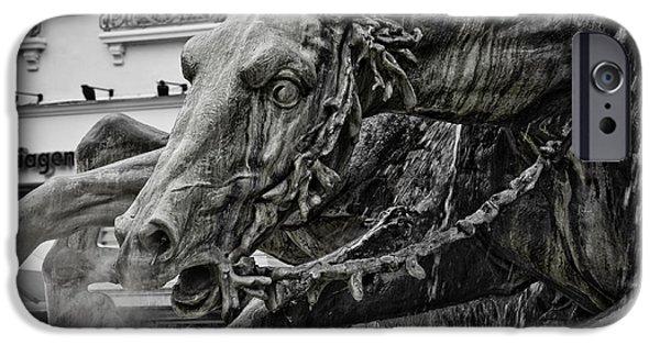 Fontain iPhone Cases - Fragment of Bartholdi fountain iPhone Case by Oleg Koryagin