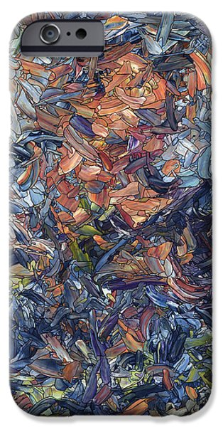 Color Drawings iPhone Cases - Fragmented Man iPhone Case by James W Johnson
