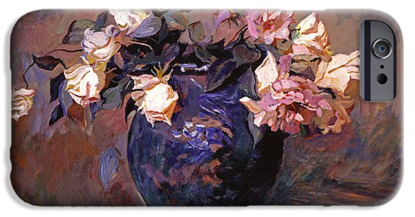 Pottery Paintings iPhone Cases - Fragrant Rose Petals iPhone Case by David Lloyd Glover
