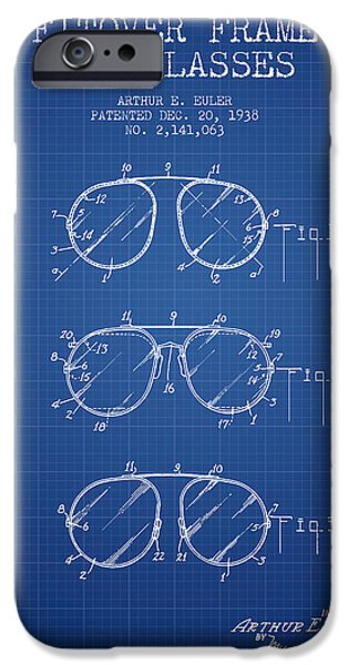 Sunglasses iPhone Cases - Frame for Glasses patent from 1938 - Blueprint iPhone Case by Aged Pixel