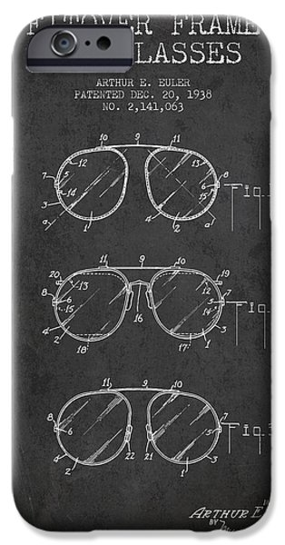 Sunglasses iPhone Cases - Frame for Glasses patent from 1938 - Dark iPhone Case by Aged Pixel