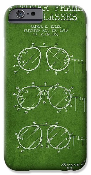 Sunglasses iPhone Cases - Frame for Glasses patent from 1938 - Green iPhone Case by Aged Pixel