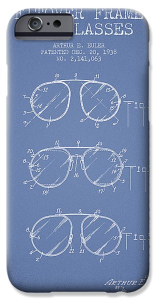 Sunglasses iPhone Cases - Frame for Glasses patent from 1938 - Light Blue iPhone Case by Aged Pixel