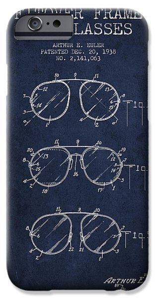 Sunglasses iPhone Cases - Frame for Glasses patent from 1938 - Navy Blue iPhone Case by Aged Pixel