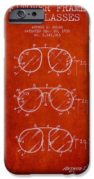 Sunglasses iPhone Cases - Frame for Glasses patent from 1938 - Red iPhone Case by Aged Pixel